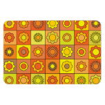 Yellow and Orange Hippie Flower Pattern Rectangle Magnets