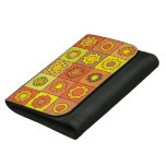 Yellow and Orange Hippie Flower Pattern Leather Wallets