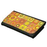 Yellow and Orange Hippie Flower Pattern Women's Wallets
