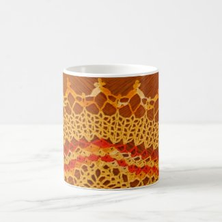 Yellow and Orange Lace Art Mug