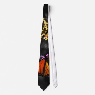 Yellow and Orange Monarch Butterflies on Flowers Tie