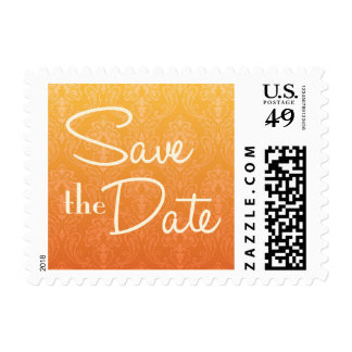 Yellow and Orange Ombre Save the Date Postage Stamps