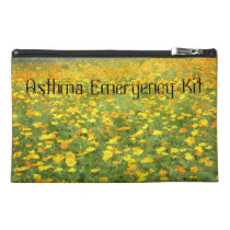 Yellow and Orange Poppies Asthma Emergency Kit Travel Accessory Bag