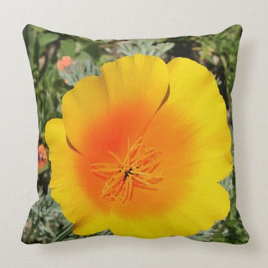 Yellow and Orange Poppy Throw Pillow