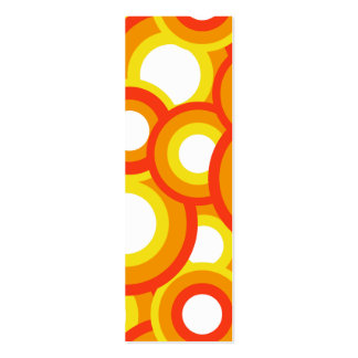 Yellow and orange psychedelic circles business card template