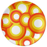 Yellow and orange psychedelic circles porcelain plate