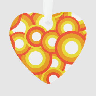 Yellow and orange psychedelic circles ornament
