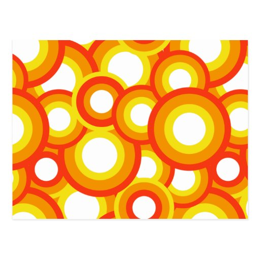 Yellow and orange psychedelic circles postcard