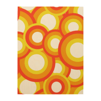 Yellow and orange psychedelic circles wood print