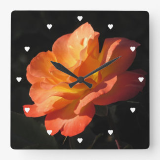 Yellow and Orange Rose Square Wall Clock