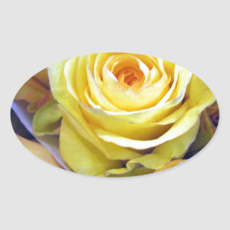 Yellow and Orange Roses Oval Sticker