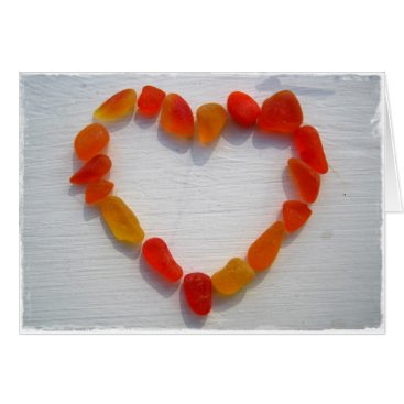 Beach Themed Yellow and Orange Sea Glass Heart Post Cards