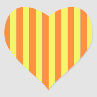 Yellow and Orange Strips Heart Sticker