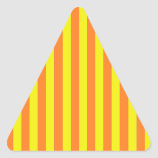 Yellow and Orange Strips Triangle Stickers