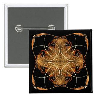 Yellow and Orange Swirled Pillow-Like Fractal Art Pin