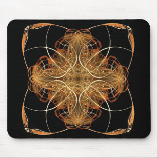 Yellow and Orange Swirled Pillow-Like Fractal Art Mouse Pad