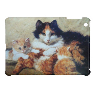 Yellow and Orange Tabby Kittens Snuggling With Mom iPad Mini Covers