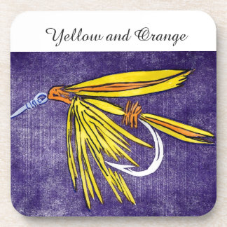 """""""Yellow and Orange"""" Trout Wet Fly Coaster"""