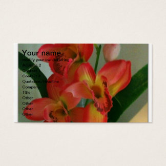 yellow and orangy pink flower arrangement business card