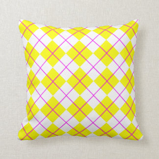 Yellow and Pink Argyle pattern Throw Pillow