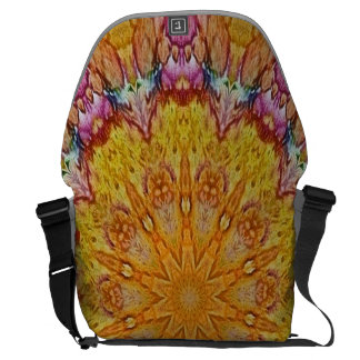 yellow and pink batik kaleidoscope design messenger bags