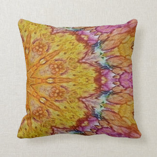 yellow and pink batik kaleidoscope design pillows
