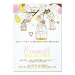 Yellow and Pink Birdcages Birthday Invitation