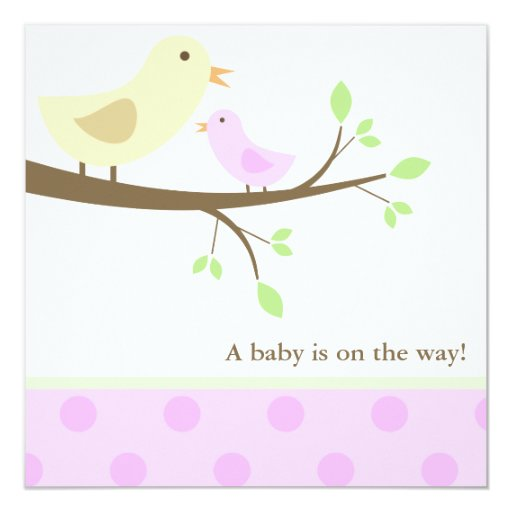 yellow and pink birds baby shower invitation zazzle
