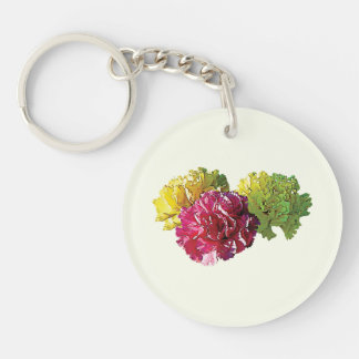 Yellow and Pink Carnations Keychain
