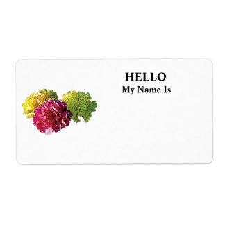 Yellow and Pink Carnations Label