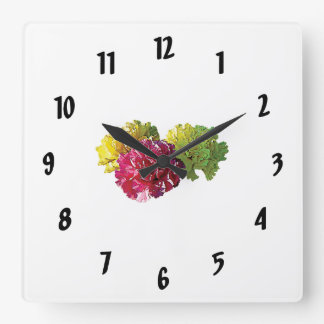 Yellow and Pink Carnations Square Wall Clock