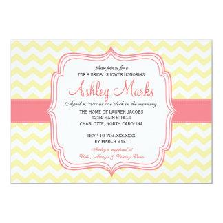 Yellow and Pink Cheveron Invitaiton Personalized Invitation