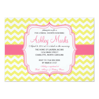 "Yellow and Pink Chevron Invitation 5"" X 7"" Invitation Card"