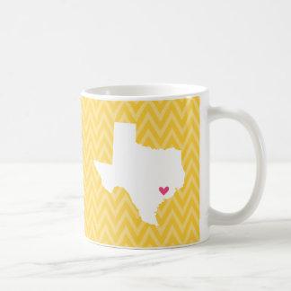 Yellow and Pink Chevron Texas Love Mug