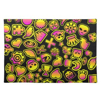 Yellow and Pink Emoji Monsters - Placemat