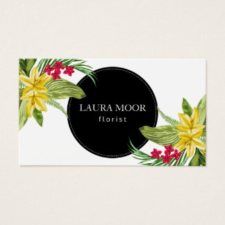 Yellow And Pink Exotic Flowers Business Card