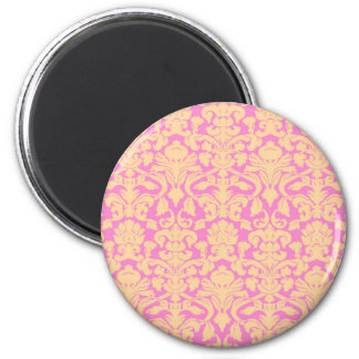 Yellow and Pink Floral Lace Damask Magnet