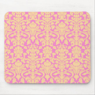 Yellow and Pink Floral Lace Damask Mousepad
