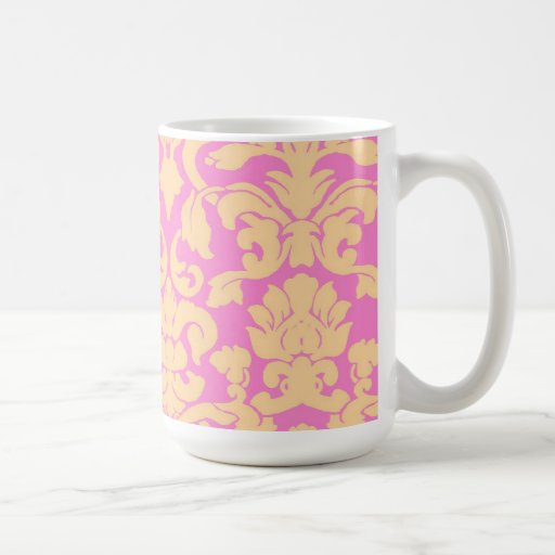 Yellow and Pink Floral Lace Damask Mug