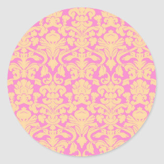 Yellow and Pink Floral Lace Damask Sticker
