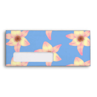 Yellow and Pink Flowers on Light Blue Envelopes