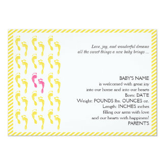 Yellow and Pink Footprints Baby Announcement