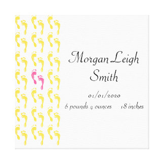 Yellow and Pink Footprints Baby Canvas Print