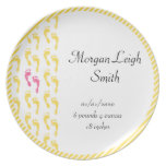 Yellow and Pink Footprints Baby Dinner Plate
