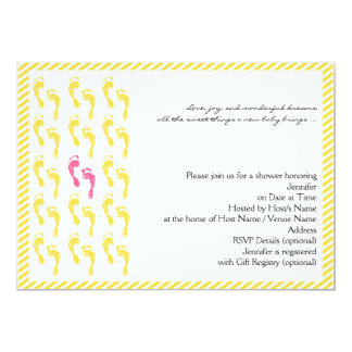 Yellow and Pink Footprints Baby Shower Invitation