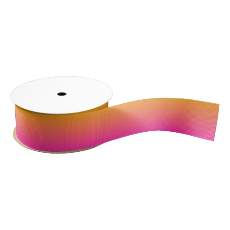 Yellow and pink gradient ombre grosgrain ribbon