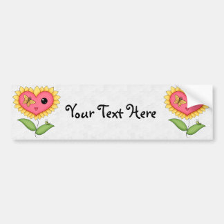 Yellow And Pink Heart Shaped Flower Bumper Sticker