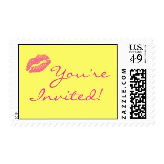 Yellow and Pink Lips Kiss You're Invited Stamps