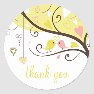 Yellow and Pink Love Birds Thank You Sticker