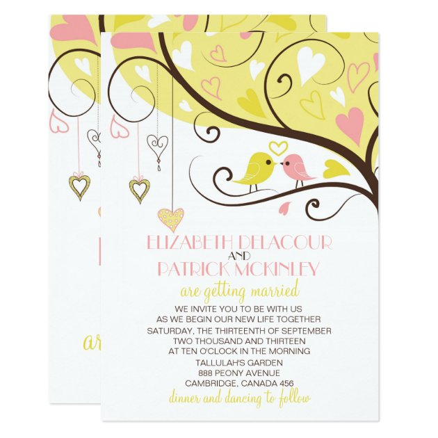 Yellow And Pink Love Birds Wedding Invitation | Zazzle